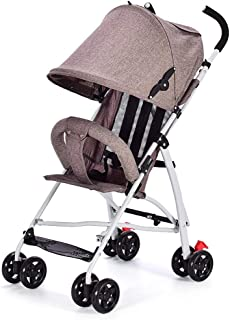Baby Four-Wheeled Cart Ultra Light Folding Baby Umbrella Can Sit Can Shock Baby Stroller Children Travel Essential 46 * 60 * 96cm (Color : E)