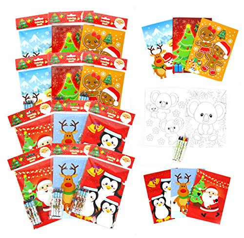 TINYMILLS Christmas Coloring Book and Crayon Set for Kids Party Favors with 12 Coloring Books and 48 Crayons for Christmas Goody Bag Stuffers For Kids Stocking Stuffers Holiday Party Gift Rewards Carnival Prizes Giveaways