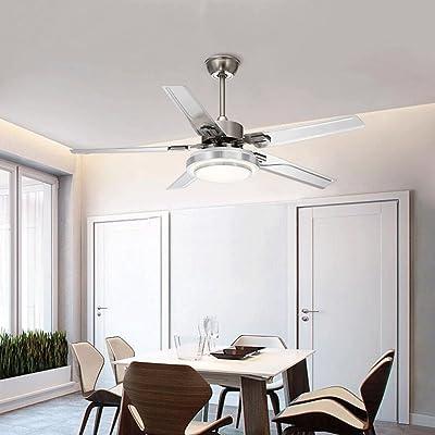 Lámpara LED Ventilador Madera Hoja Ventilador de Techo Luz Comedor ...