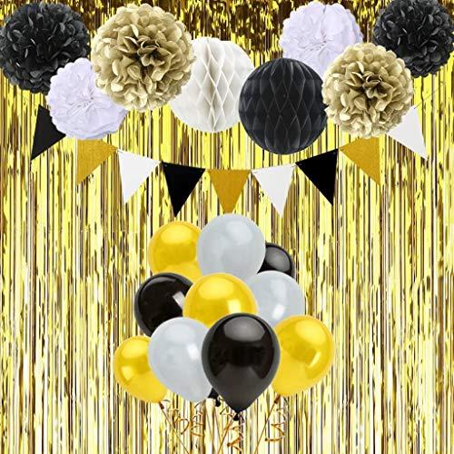 Gustawarm Decoraciones de Feliz cumpleaños 6 Pompones, 2 Bola de Panal, 30 Globos del látex, una Hila de Banderas Triangulares, Cortina de Oro para Las Decoraciones del Banquete de Boda de Cumpleaños