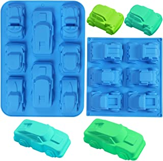 2 Set Silicone Carton Car Mold Baking Molds Bakeware Car Shape Cake DIY for Birthday Theme Party Homemade Cake Soap Jelly Pudding Chocolate Baking molds, Muffin Cups, Ice Cube, Wafer, Bread, Tart,Pie