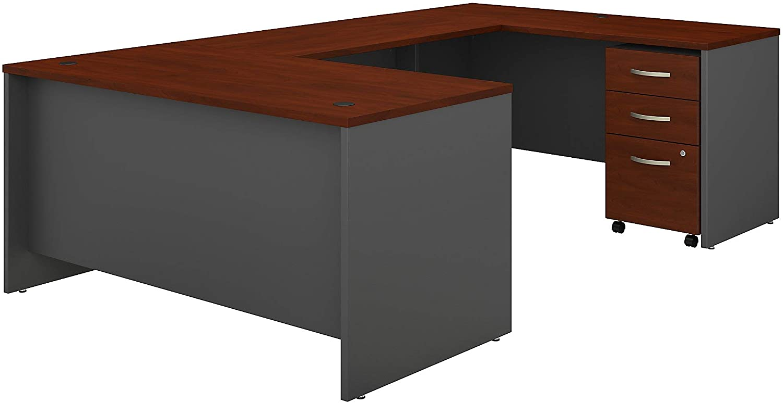 Bush Business Furniture Series C U Shaped Desk with 3 Drawer Mobile File Cabinet, 60W, Hansen Cherry