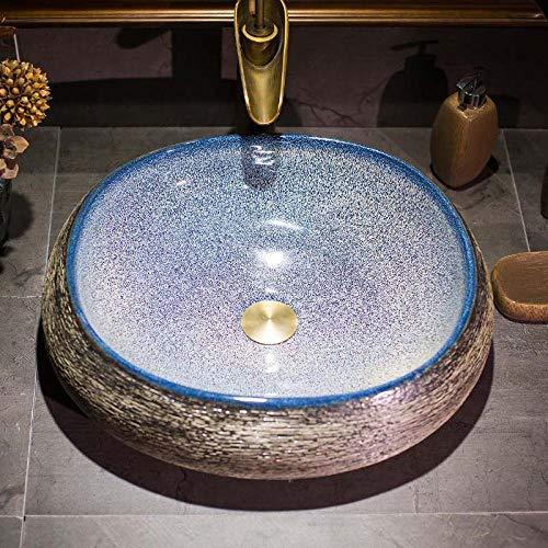 Lavabo de cerámica para encimera, cuenco redondo para lavar a mano, grifo mezclador de frío caliente, para baño, oficina, baño, hotel, cafetería, 50 x 40 x 15 cm