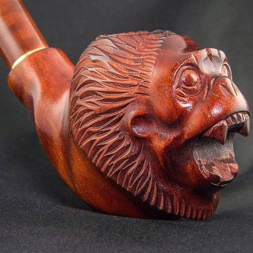20,0センチ。「モンキー」ロング冷却しながら&9ミリメートルフィルター用の木製の喫煙パイプを刻んでいた。'Monkey' Long carved wooden smoking pipe with cooling & for 9mm filter. 最高の