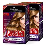 Schwarzkopf Keratin Color Permanent Hair Color Cream, 7.5 Caramel Blonde (Pack of 2)