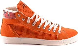 SPRINGA Men's MCBI28275 Orange Suede Hi Top Sneakers