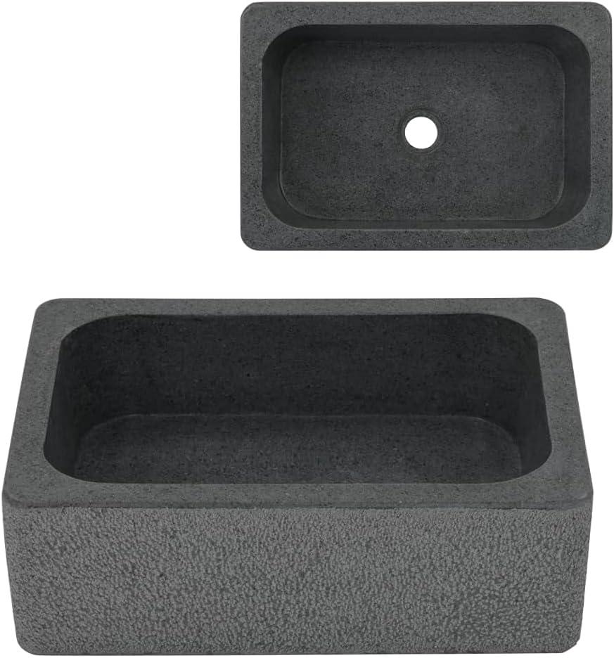 vidaXL Lavabo de Piedra de Río Negro 45x30x15 cm Sanitario Baño Servicio Hogar Piedra Natural
