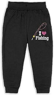 Easionerol Love Fishing Child Long Sweatpants Jogger Trousers