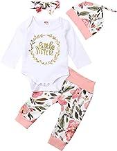 BHJTR 4 pcs Baby Girls Pants Set Newborn Infant Toddler Little sisiter Romper Pants Hats Headband Clothes