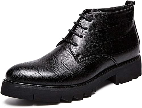 XHD-Chaussures Tenue décontractée pour Hommes avec Texture Texture et Bottines de Style Britannique à la Mode pour Hommes (Couleur   Noir, Taille   39 EU)  dégagement