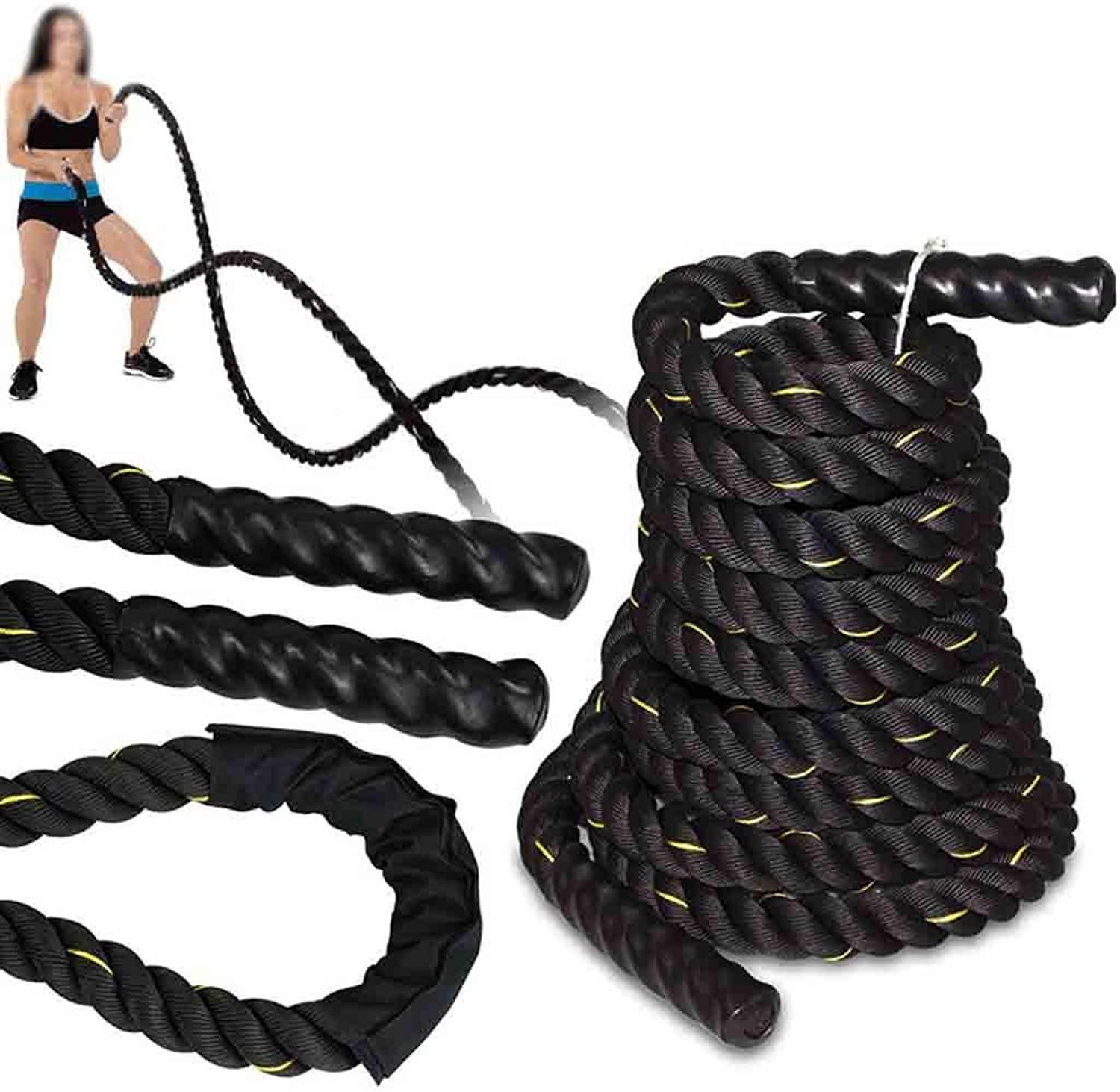 1.5  Diameter Exercise Training Battle Ropes (30' 40' 50' Length Available) Circumference Training Rope, Fitness Equipment for Home, Office, Professional Gyms