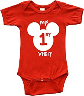 PandoraTees Infant Short Sleeve Bodysuit - My First Disney Visit