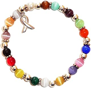 Hidden Hollow Beads Cancer Awareness 6mm Beaded Stretch Bracelet, Show Support Fundraising Campaigns, Comes Packaged