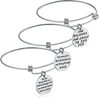 iJuqi Birthday Gifts for Women Girls - 3PCS Stainless Steel Inspirational Charm Bracelets Jewelry Set Motivational Expendable Bangles Ideas