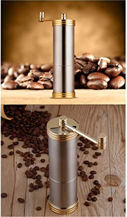 GAL Portable Stainless Steel Hand Grinder Ceramic Grinding Core Coffee Bean Grinder Manual Coffee Grinder 55 * 190mm Easy To Use (Color : Gold)
