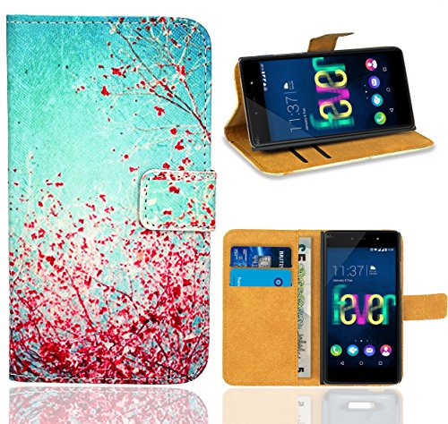 FoneExpert® Wiko Fever 4G Handy Tasche, Wallet Case Flip Cover Hüllen Etui Ledertasche Lederhülle Premium Schutzhülle für Wiko Fever 4G