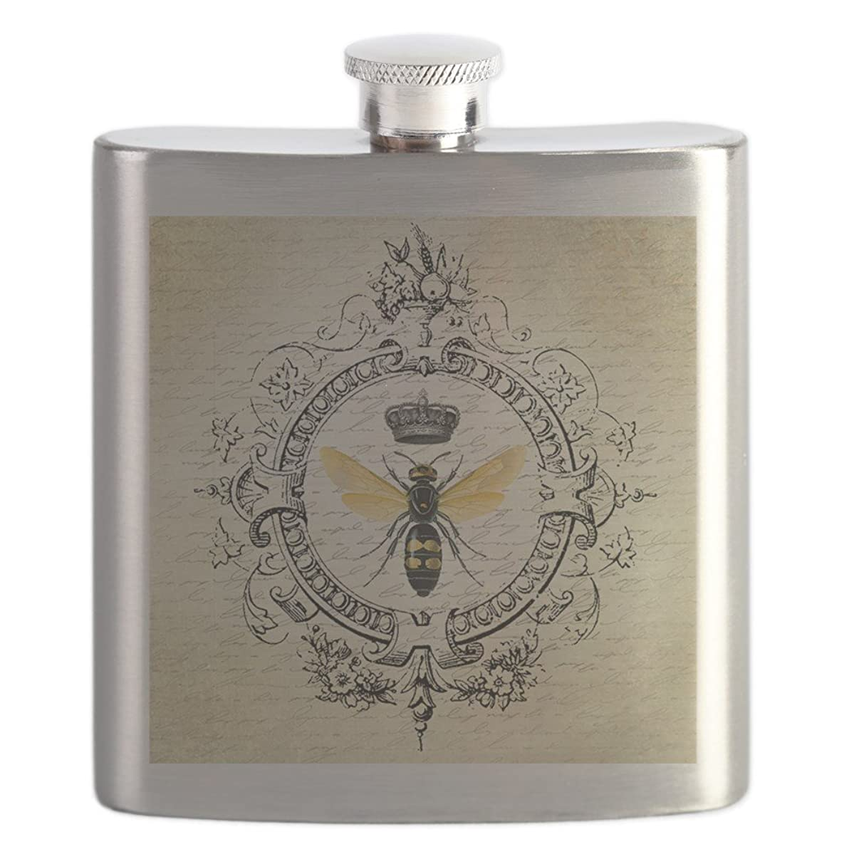 CafePress - Vintage French Queen Bee - Stainless Steel Flask, 6oz Drinking Flask