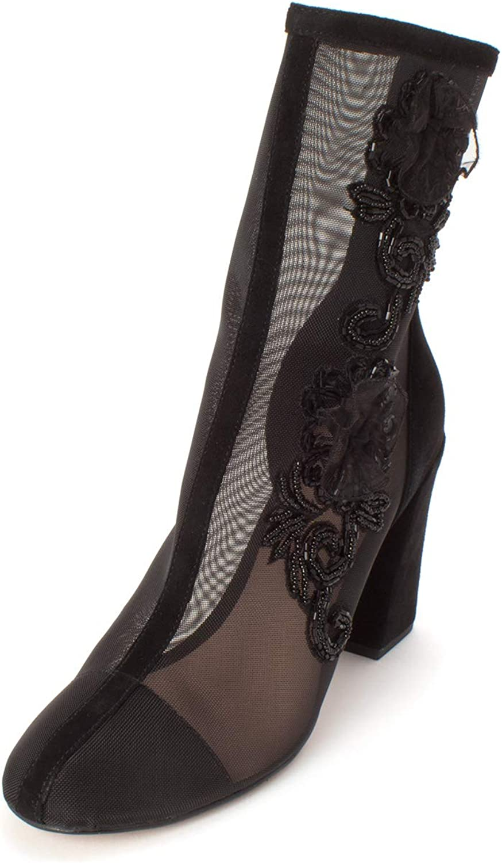 Avec Les Filles Womens Reagan Fabric Cap Toe Mid-Calf Fashion Boots