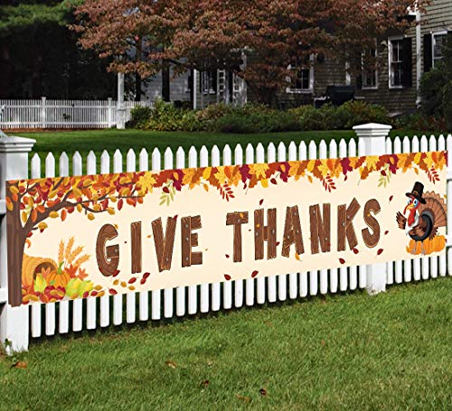 Happy Fall Banner Decorations - Give Thanks Thanksgiving Day Autumn Outdoor Indoor Party Decor Supplies