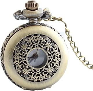 Pocket Watch Vintage Necklace Small Green Bronze Window Cover Hollow Flip Pocket Watch with Chain