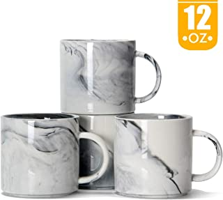 12 oz Stackable Coffee Mugs, Smilatte M101 Novelty Marble Ceramic Cup for Boy Girl lover, Set of 4, Gray