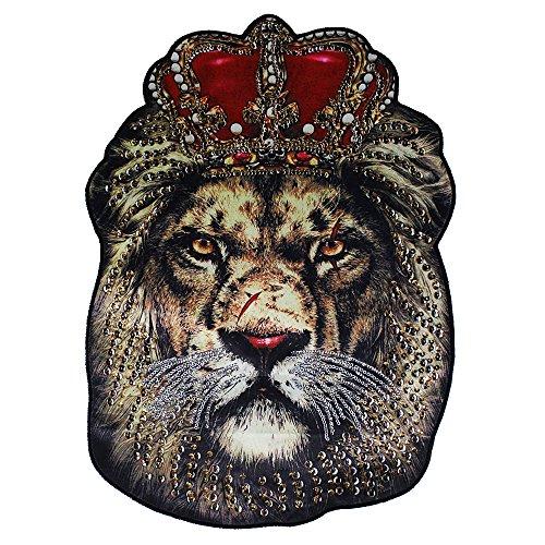 EMDOMO 1 grand patch en tissu à paillettes avec motif tête de roi lion pour couture sur veste, vêtements
