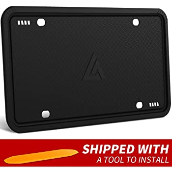 Aujen 1 Pack Silicone License Plate Frames Universal American Auto License Plate Holder, Black License Plate Frame Rust-Proof, Rattle-Proof, Weather-Proof