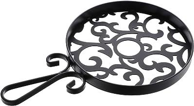 TOPBATHY Cast Iron Trivet Metal Trivet Decorative Round Trivet Mat Hot Pot Holder Pads For Hot Dishes Pots Black