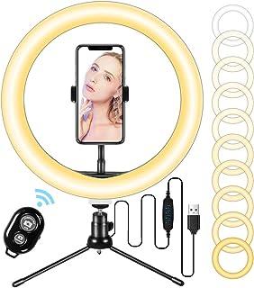 LED-ringlampa 10 tum med stativstativ och flexibel telefonhållare, skrivbord makeup selfie ringlampa med dimbara 3 ljusläg...