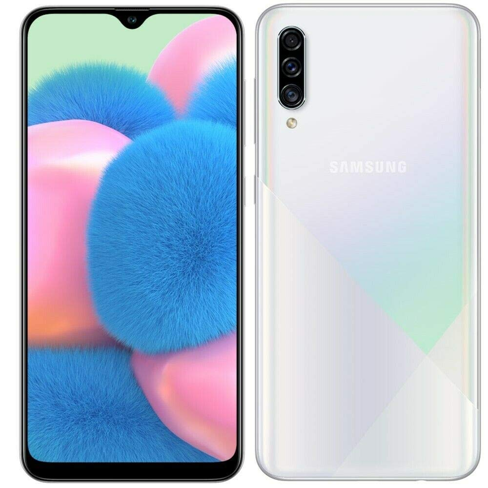 "Samsung Galaxy A30S w/On-Screen Fingerprint (64GB, 4GB) 6.4"", Triple Camera, Dual SIM GSM Unlocked A307G/DS - US + Global 4G LTE International Model (64GB + 64GB SD + Case Bundle) (White)"