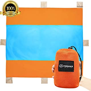 Pocket Blankets,Sandless Mat Compact Picnic/Beach Blanket - XXL Extra Large (9.8 x 9.8 ft) for 5-6 People Blue/Orange
