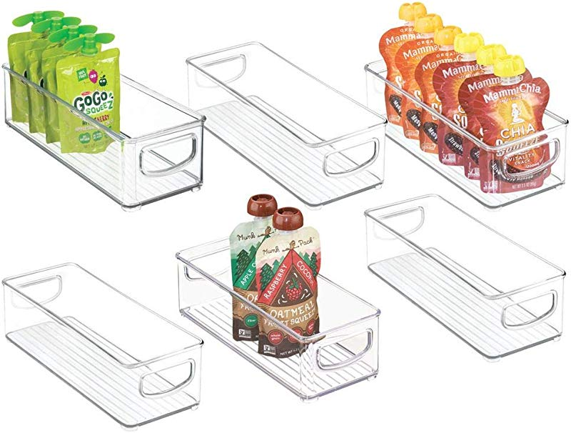 MDesign Stackable Plastic Kitchen Pantry Cabinet Refrigerator Or Freezer Food Storage Bins With Handles Organizer For Fruit Yogurt Squeeze Pouches Food Safe BPA Free 10 Long 6 Pack Clear