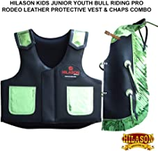 HILASON Kids Junior Youth Bull Riding Pro Rodeo Leather Vest Chaps