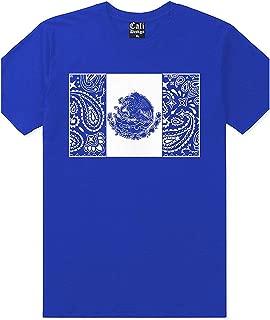 Men's Royal Blue Bandana Mexico Flag T Shirt Cholo Chicano Mexican