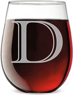Monogram Etched 17oz Stemless Wine Glass (Letter D)