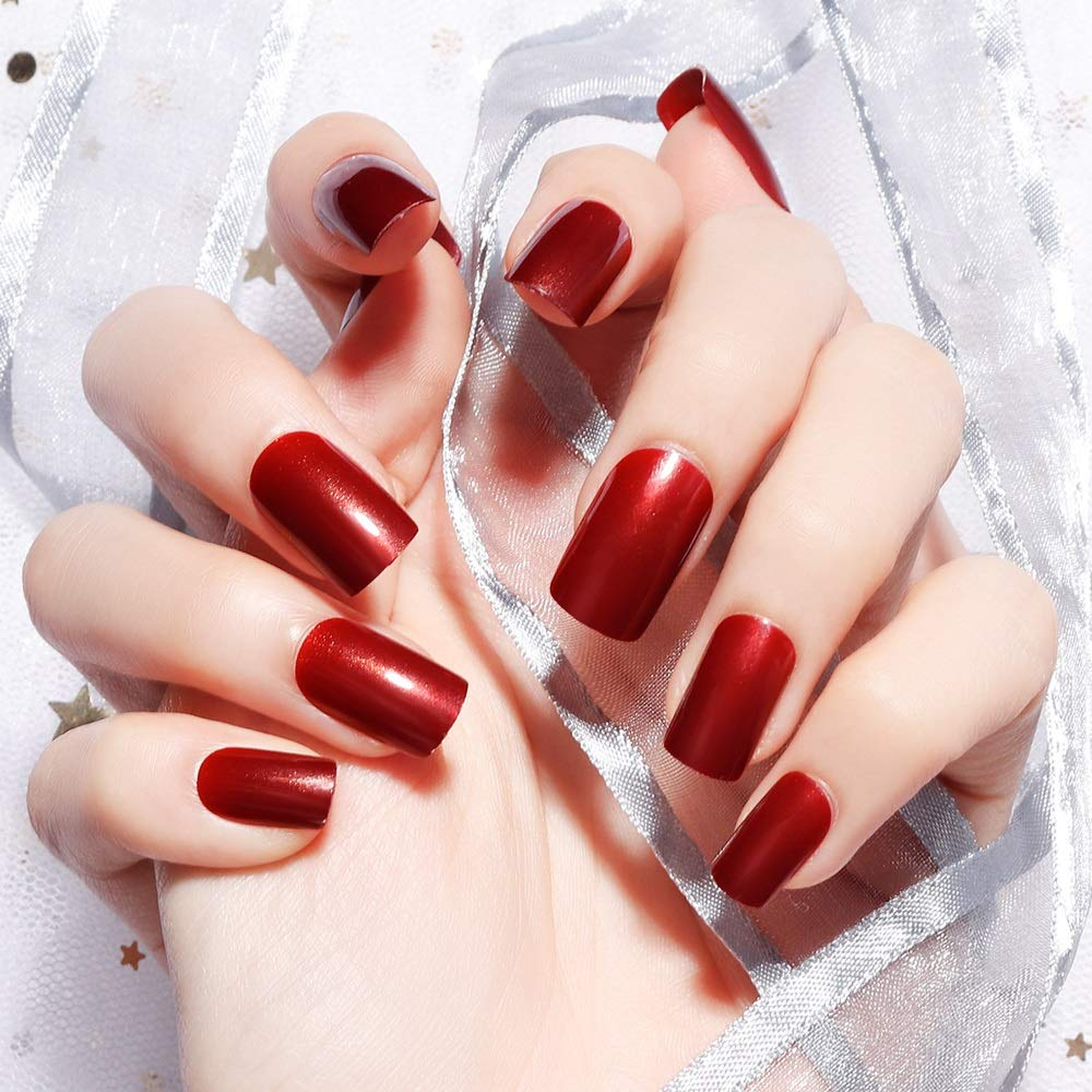 Ranking integrated Topics on TV 1st place LIARTY 24pcs Medium Length False Nails F Red Acrylic Square Wine