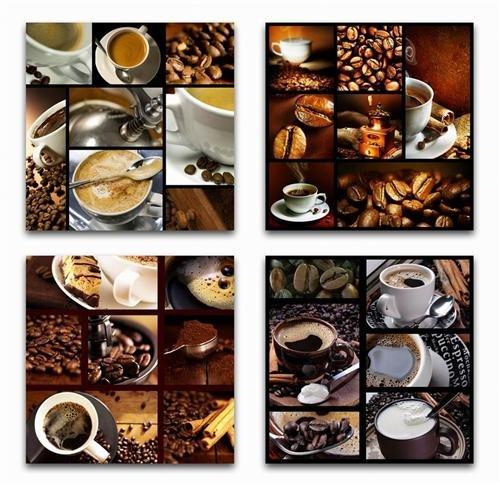 Geschenkestadl 4 x Kaffee Wandbilder Kaffeebohnen Tasse 40cm x 40cm Milchkaffe Cappuccino
