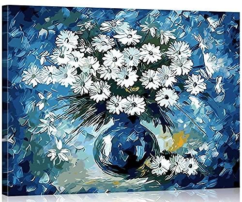Xpboao Pintar por número - Planta jarrón Azul Margarita - Kit de Pintura acrílica de Bricolaje para Adultos y niños - Kit de decoración del hogar - 40x50 - Sin Marco
