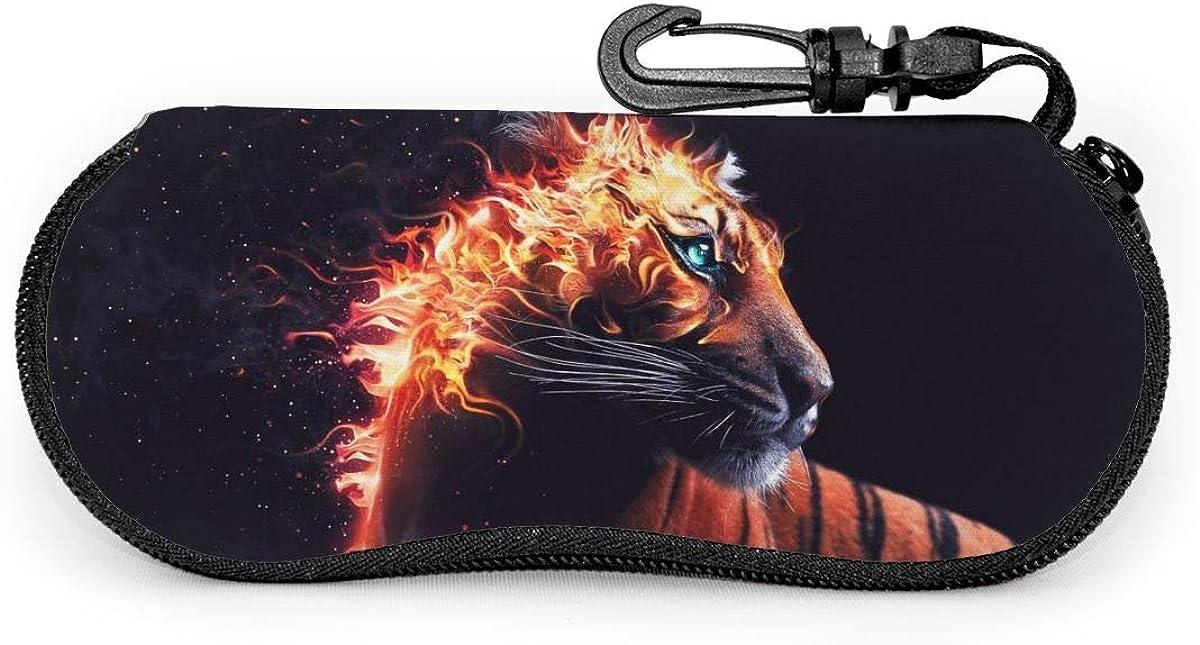Fire Tiger Sunglasses Soft Case Ultra Light Neoprene Zipper Eyeglass Case With Key Chain