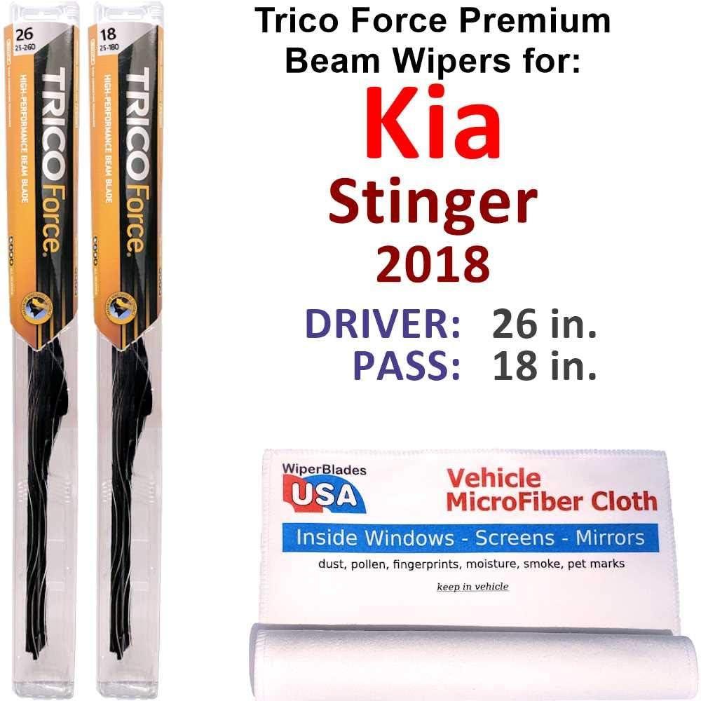 Premium Beam Wiper Blades for 2018 蔵 送料無料お手入れ要らず B Force Set Trico Kia Stinger