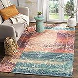 Safavieh Saffron Collection SFN592A Handmade Boho Chic Distressed Cotton Area Rug, 4' x 6', Coral / Aqua