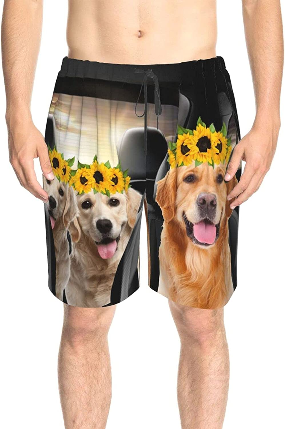 JINJUELS Mens Swim Trunks Dog Camp Trip Car Beach Board Shorts Quick Dry Cool Swimming Trunks with Lining