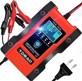 Cargador de Baterías Coche Moto 6A 12V/24V con Múltiples Protecciones Cargador Baterías Litio Pantalla LCD para Batería de Plomo y Batería de Litio Coches Motos