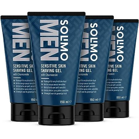 Marca Amazon - Solimo Gel de afeitar para pieles sensibles para hombre, 4 x 150ml