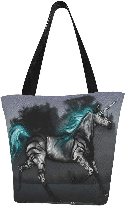 Blue-Green Unicorn Black Horse Ranning Themed Printed Women Canvas Handbag Zipper Shoulder Bag Work Booksbag Tote Purse Leisure Hobo Bag For Shopping