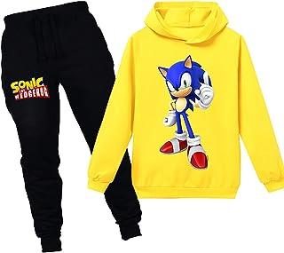 Silver Basic Felpa con Cappuccio e Pantaloni Stampa Sonic The Hedgehog Cartone Animato Set