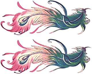 2-Sheets Colorful Peacock Feathers Women Makeup Body Art Temporary Fake Tattoos Stickers for Abdomen Scar