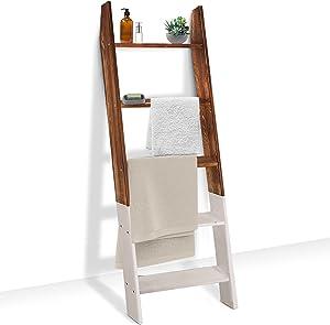 Qlfyuu Blanket Ladder Farmhouse,Decorative Wooden Ladder for Blanket,Blanket Holder for Bedroom,Bathroom, Blanket Ladders for The Living Room, Wood Blanket Display Ladder Shelf