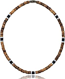 Brown Tiger Coco Bead 2 Black 2 White Puka Shell Surfer Necklace