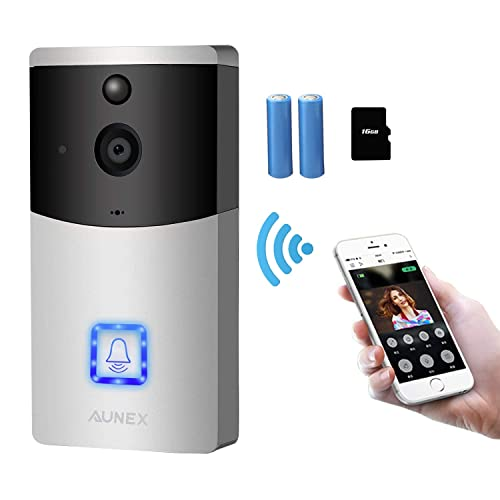 AUNEX Video Doorbell WiFi Doorbell Camera PIR Motion Detection Cloud Storage 720P HD Wireless Doorbell Home Security with Two-Way Talk & Video Night Vision Support Android and iOS(Silver)